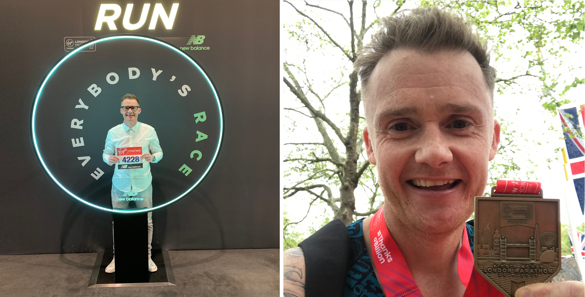 left: Jay with marathon bib number. Right: Jay with London marathon medal after finishing