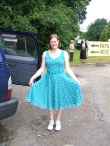 Lucy Yorke in blue spotty dress