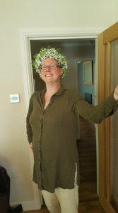 Lucy wearing flower crown
