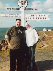 Lucy Yorke and friend at the Lands End marker in 2005