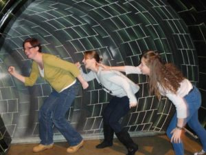 Lucy and friends pretending to go down tunnel